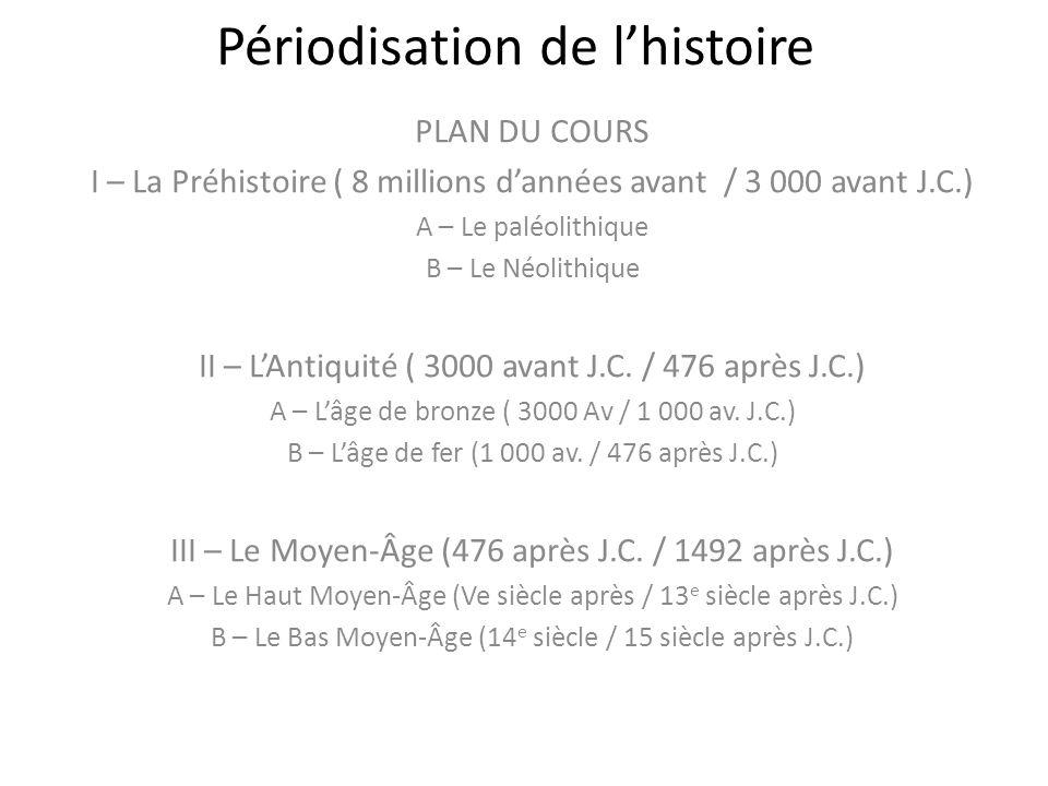 Périodisation de lhistoire PLAN DU COURS I – La Préhistoire ( 8 millions dannées avant / 3 000 avant J.C.) A – Le paléolithique B – Le Néolithique II