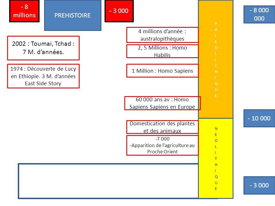 PREHISTOIRE - 3 000 - 8 millions - 10 000 1974 : Découverte de Lucy en Ethiopie. 3 M. dannées East Side Story 2002 : Toumai, Tchad : 7 M. dannées. 4 m
