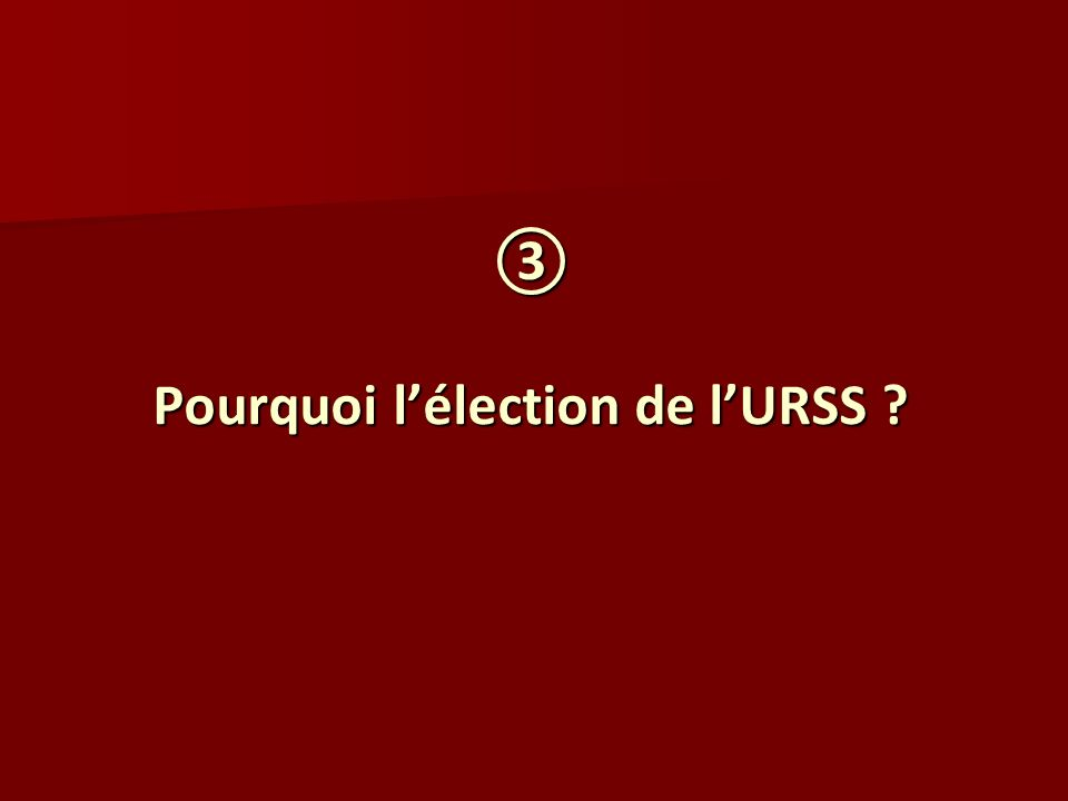 Pourquoi lélection de lURSS ? Pourquoi lélection de lURSS ?