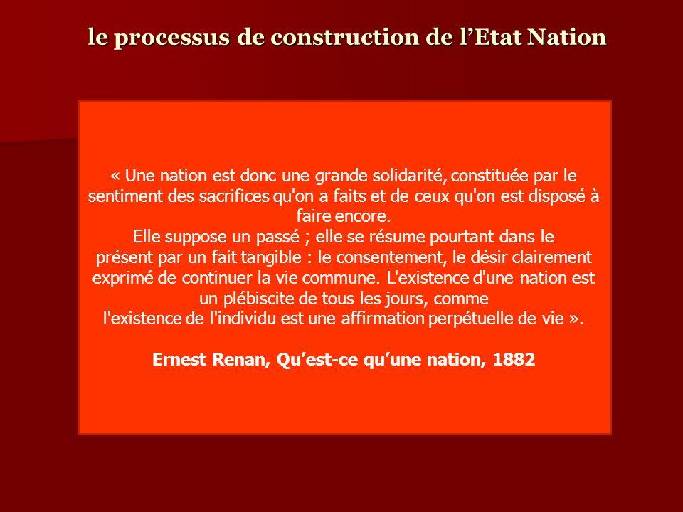 le processus de construction de lEtat Nation « Une nation est donc une grande solidarité, constituée par le sentiment des sacrifices qu'on a faits et