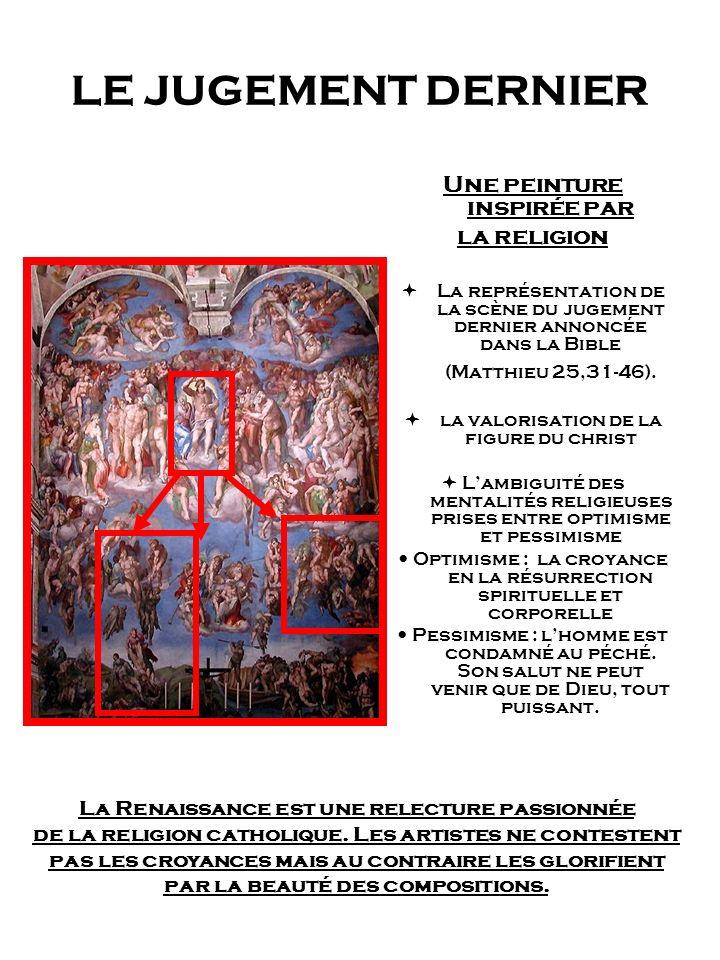LE JUGEMENT DERNIER Une peinture inspirée par la religion La représentation de la scène du jugement dernier annoncée dans la Bible (Matthieu 25,31-46)
