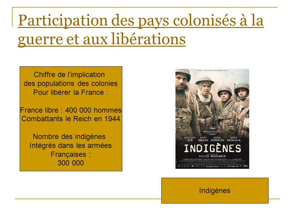 Participation des pays colonisés à la guerre et aux libérations Chiffre de limplication des populations des colonies Pour libérer la France : France l