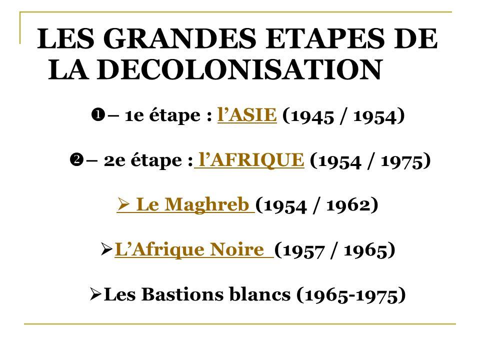 LES GRANDES ETAPES DE LA DECOLONISATION – 1e étape : l ASIE (1945 / 1954) – 2e étape : l AFRIQUE (1954 / 1975) Le Maghreb (1954 / 1962) L Afrique Noir