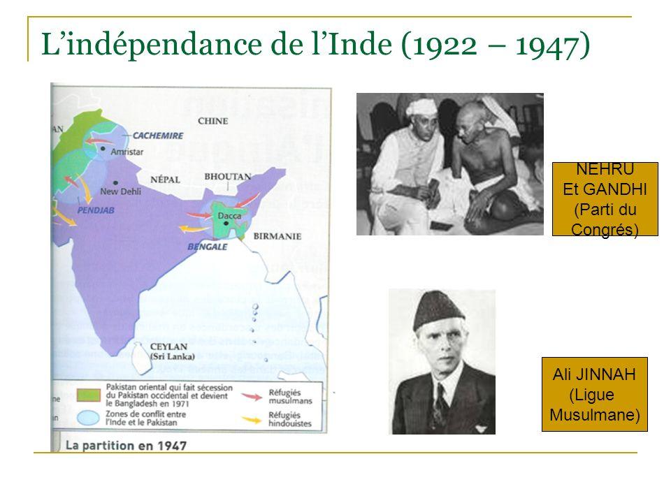 Lindépendance de lInde (1922 – 1947) NEHRU Et GANDHI (Parti du Congrés) Ali JINNAH (Ligue Musulmane)
