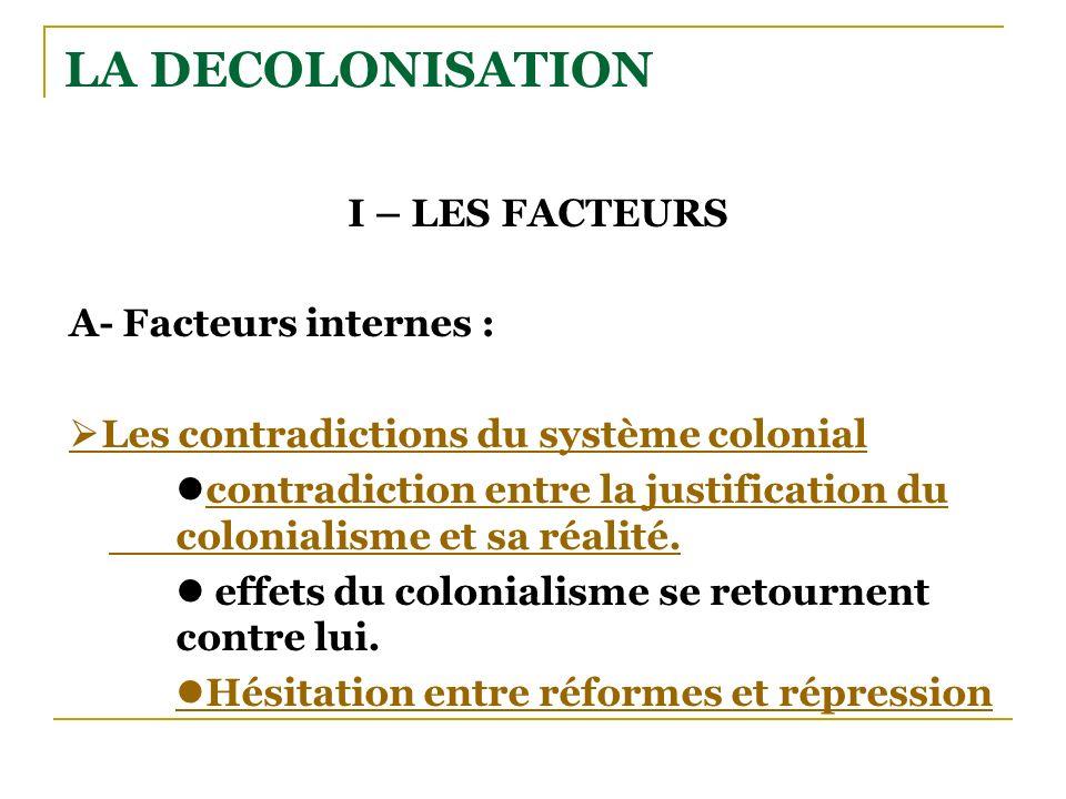 LA DECOLONISATION I – LES FACTEURS A- Facteurs internes : Les contradictions du système colonial contradiction entre la justification du colonialisme