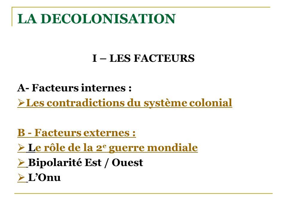 LA DECOLONISATION I – LES FACTEURS A- Facteurs internes : Les contradictions du système colonial B - Facteurs externes : Le rôle de la 2 e guerre mond