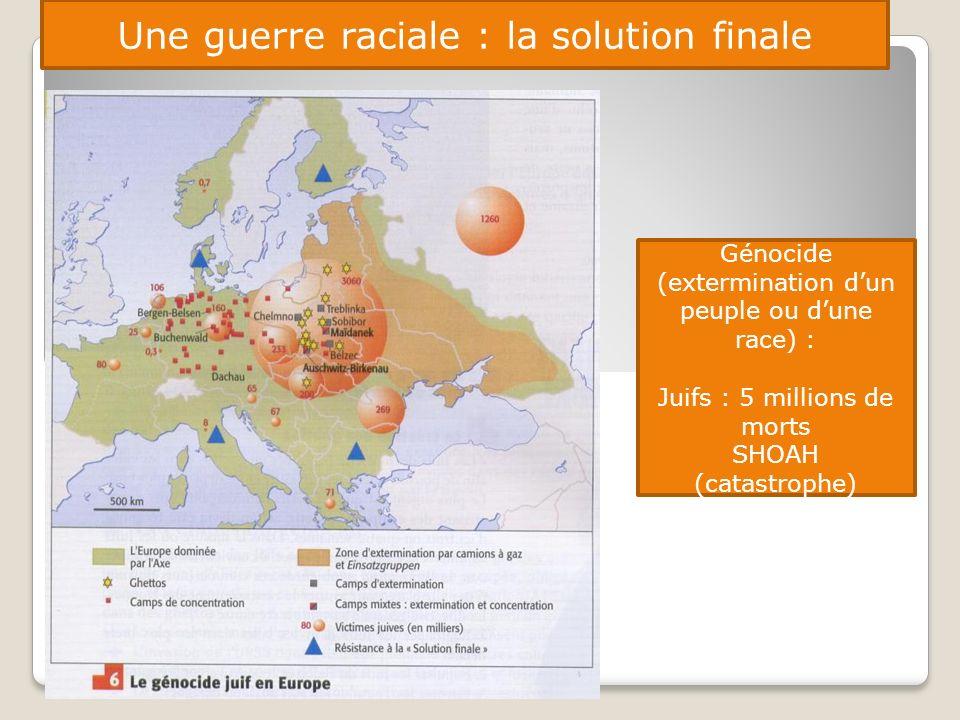 Une guerre raciale : la solution finale Génocide (extermination dun peuple ou dune race) : Juifs : 5 millions de morts SHOAH (catastrophe)