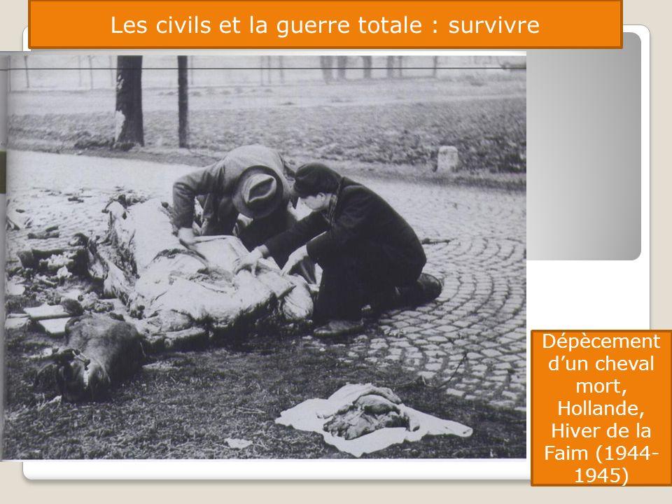Les civils et la guerre totale : survivre Dépècement dun cheval mort, Hollande, Hiver de la Faim (1944- 1945)