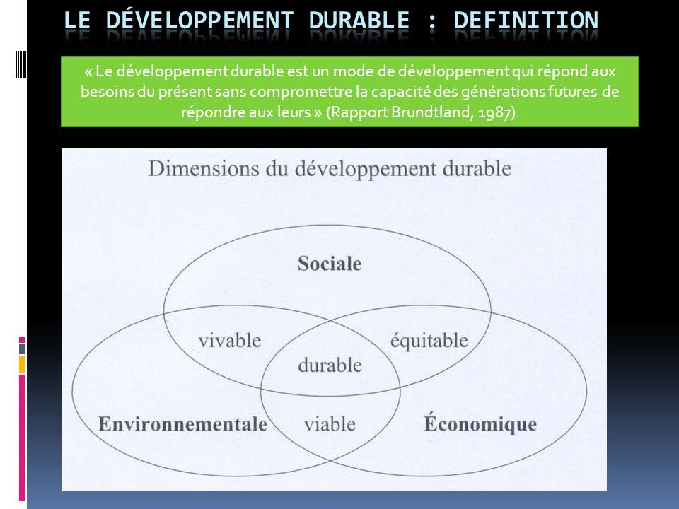 « Le développement durable est un mode de développement qui répond aux besoins du présent sans compromettre la capacité des générations futures de rép