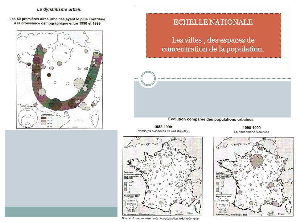 ECHELLE NATIONALE Les villes, des espaces de concentration de la population.