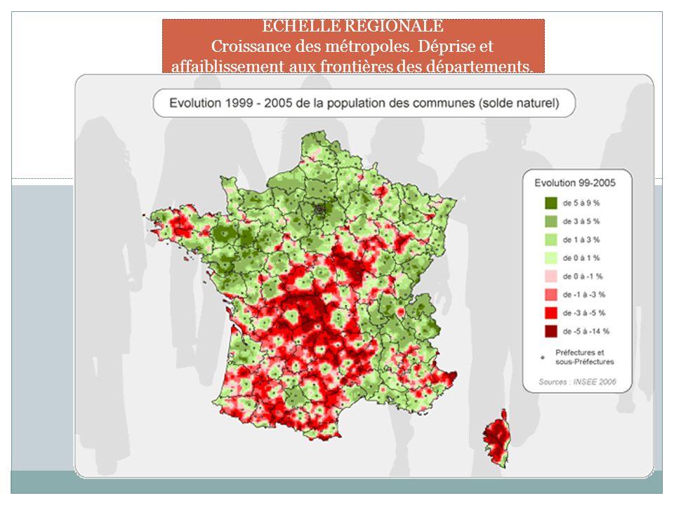 ECHELLE REGIONALE Croissance des métropoles. Déprise et affaiblissement aux frontières des départements.