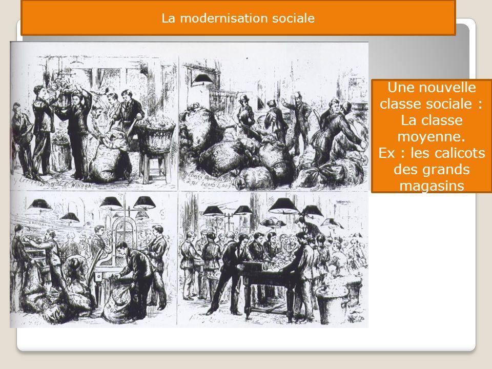 La modernisation sociale Une nouvelle classe sociale : La classe moyenne. Ex : les calicots des grands magasins