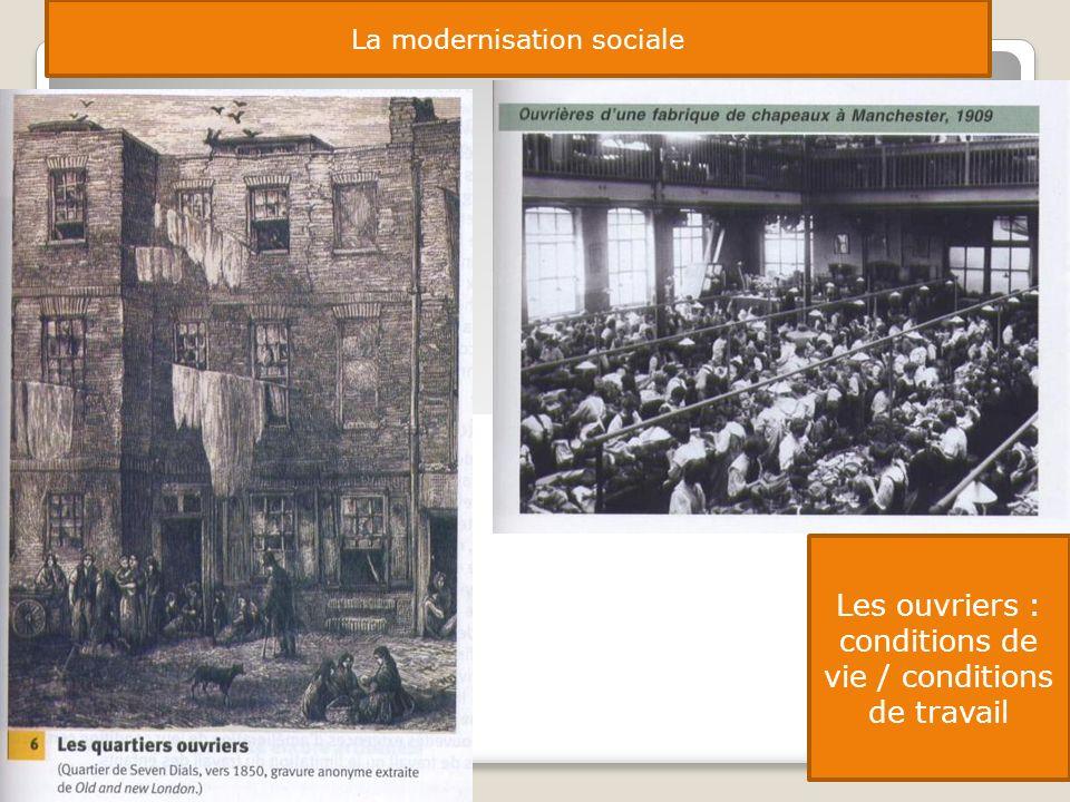 La modernisation sociale Les ouvriers : conditions de vie / conditions de travail