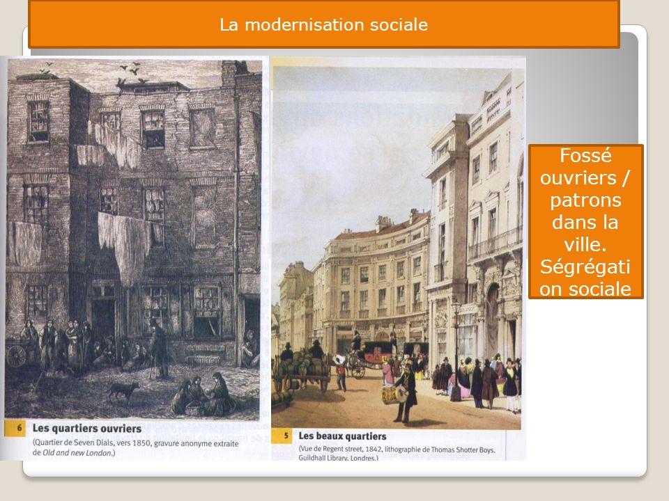 La modernisation sociale Fossé ouvriers / patrons dans la ville. Ségrégati on sociale