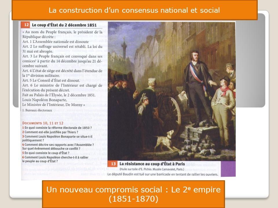 La construction dun consensus national et social Un nouveau compromis social : Le 2 e empire (1851-1870)
