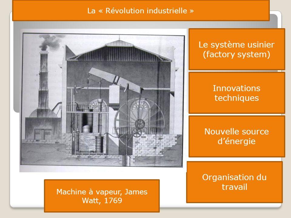 Le système usinier (factory system) La « Révolution industrielle » Innovations techniques Nouvelle source dénergie Organisation du travail Machine à v