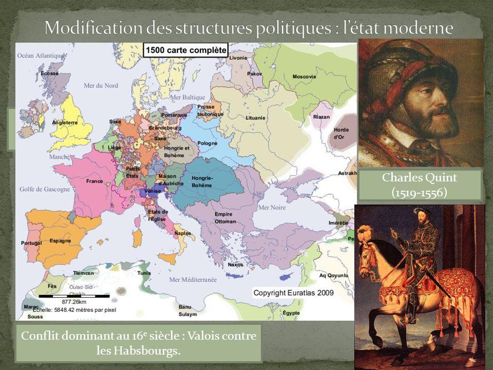 1 e absolutisme : François 1 e (1515-1547) Conflit dominant au 16 e siècle : Valois contre les Habsbourgs.