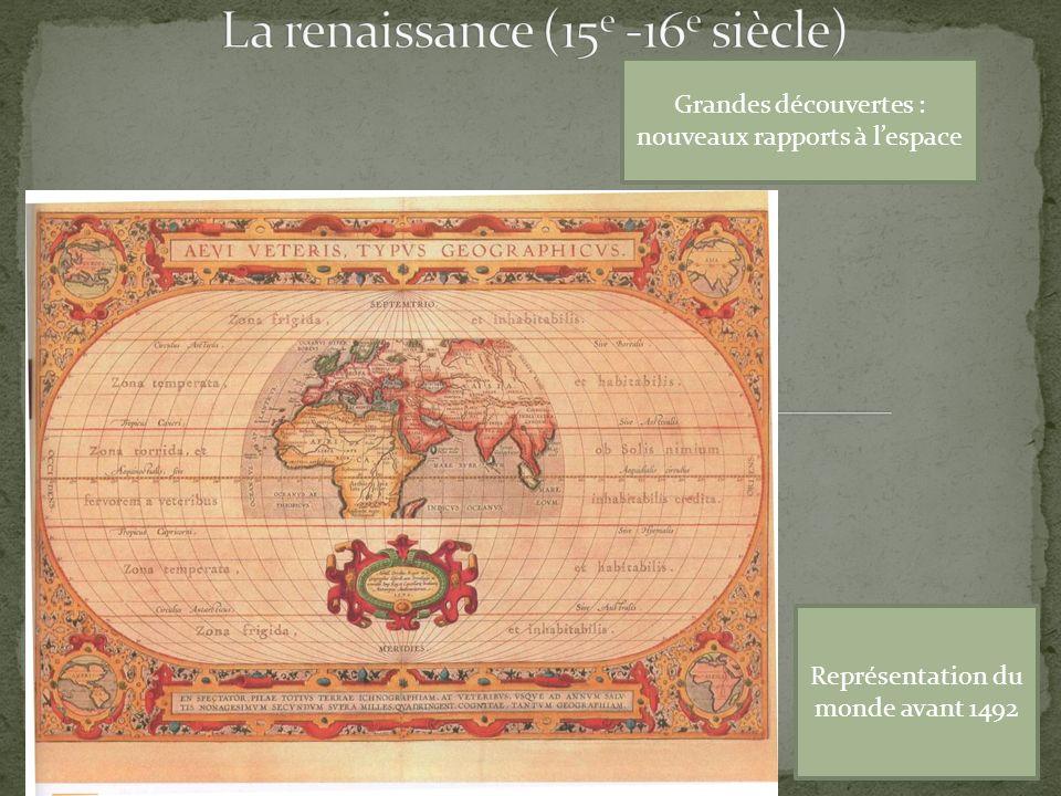 Grandes découvertes : nouveaux rapports à lespace Conquête du nouveau monde : le choc microbien Représentation du monde avant 1492