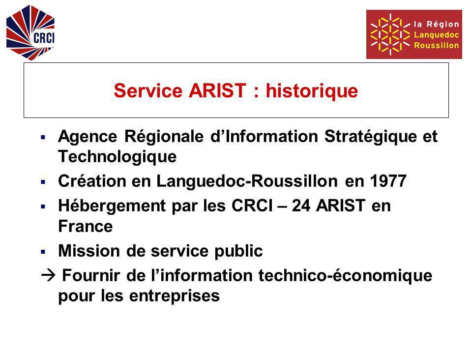 Service ARIST : historique Agence Régionale dInformation Stratégique et Technologique Création en Languedoc-Roussillon en 1977 Hébergement par les CRCI – 24 ARIST en France Mission de service public Fournir de linformation technico-économique pour les entreprises