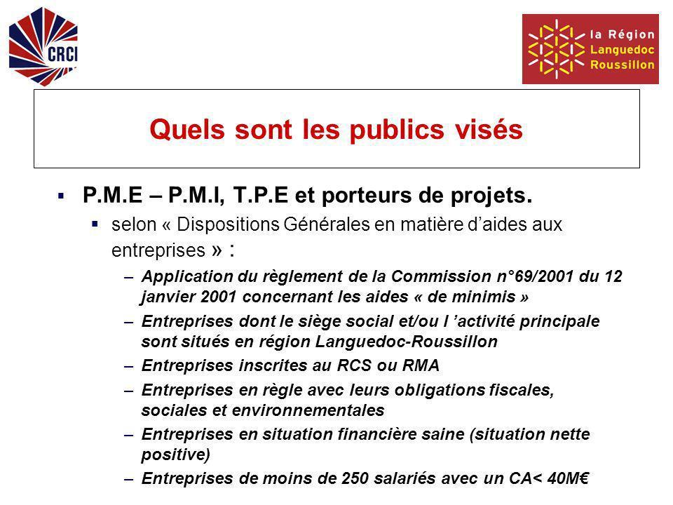 Quels sont les publics visés P.M.E – P.M.I, T.P.E et porteurs de projets.