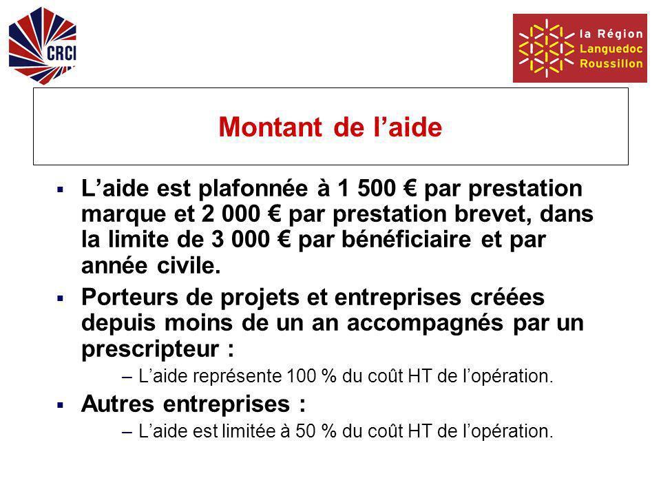 Montant de laide Laide est plafonnée à 1 500 par prestation marque et 2 000 par prestation brevet, dans la limite de 3 000 par bénéficiaire et par année civile.