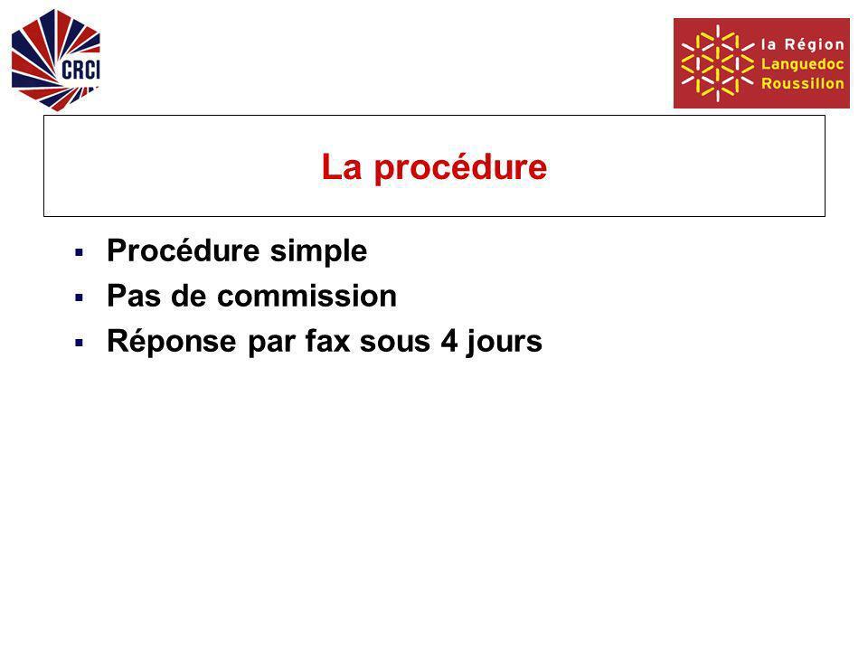 La procédure Procédure simple Pas de commission Réponse par fax sous 4 jours