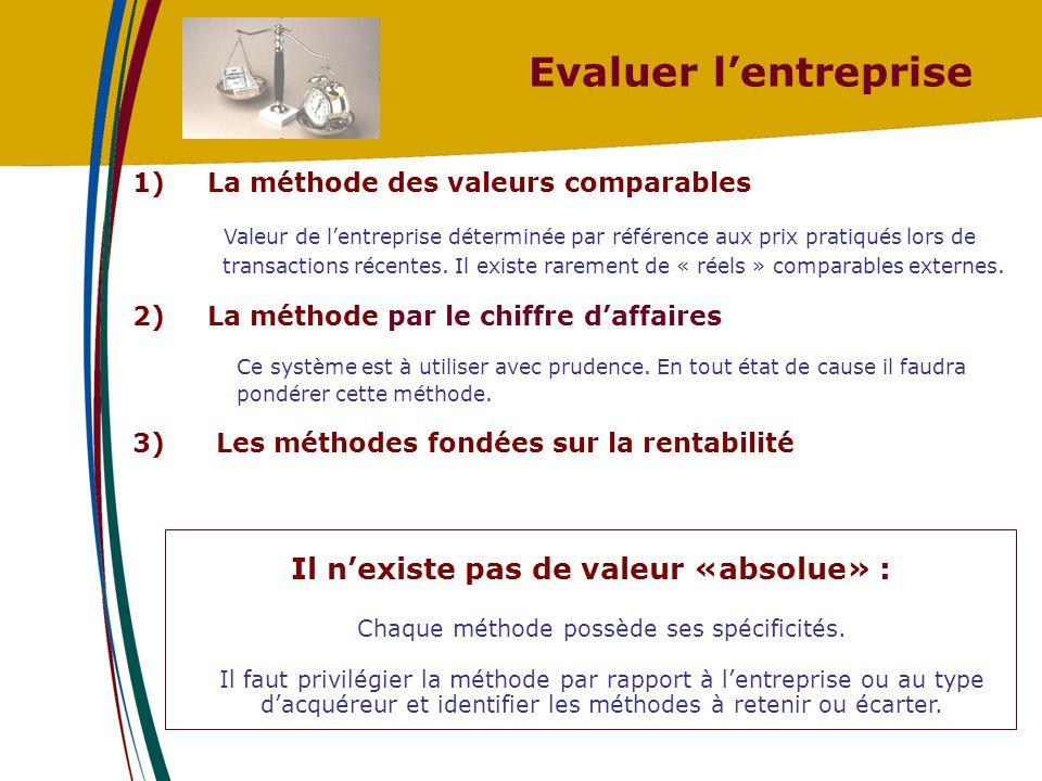 Evaluer lentreprise 2) La méthode par le chiffre daffaires Ce système est à utiliser avec prudence.