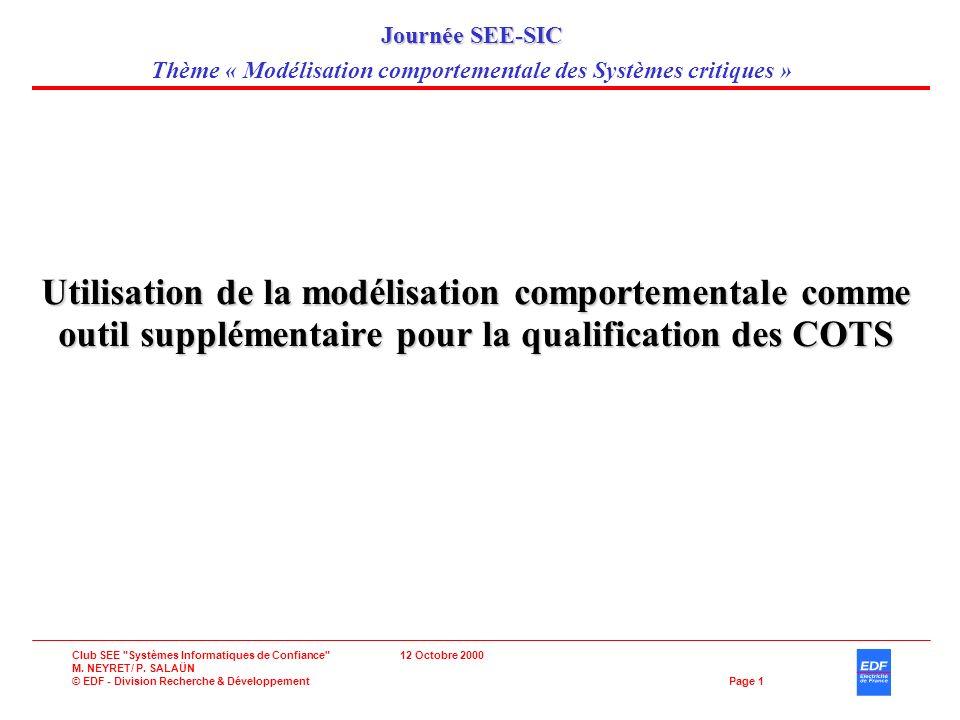 Club SEE Systèmes Informatiques de Confiance 12 Octobre 2000 M.