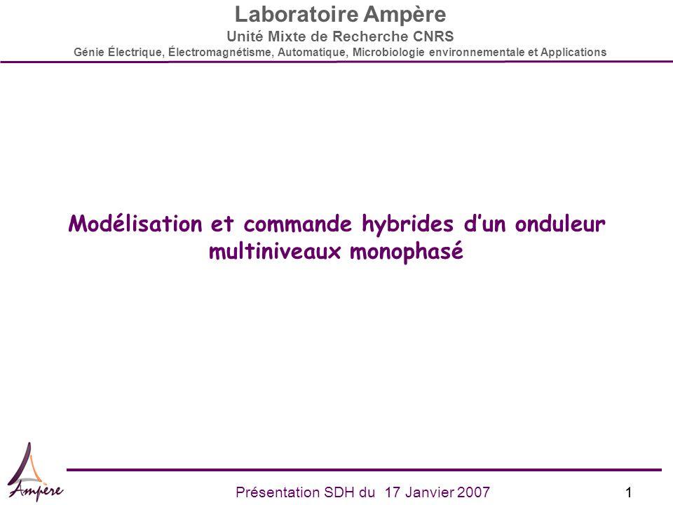 1Présentation SDH du 17 Janvier 2007 Laboratoire Ampère Unité Mixte de Recherche CNRS Génie Électrique, Électromagnétisme, Automatique, Microbiologie