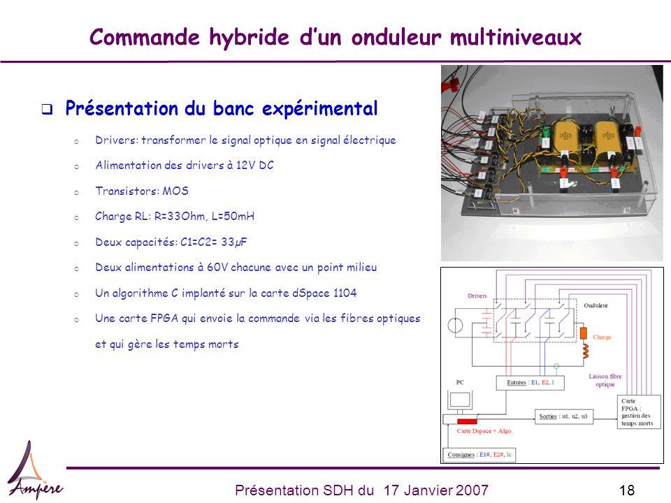 18Présentation SDH du 17 Janvier 2007 Commande hybride dun onduleur multiniveaux q Présentation du banc expérimental Drivers: transformer le signal op