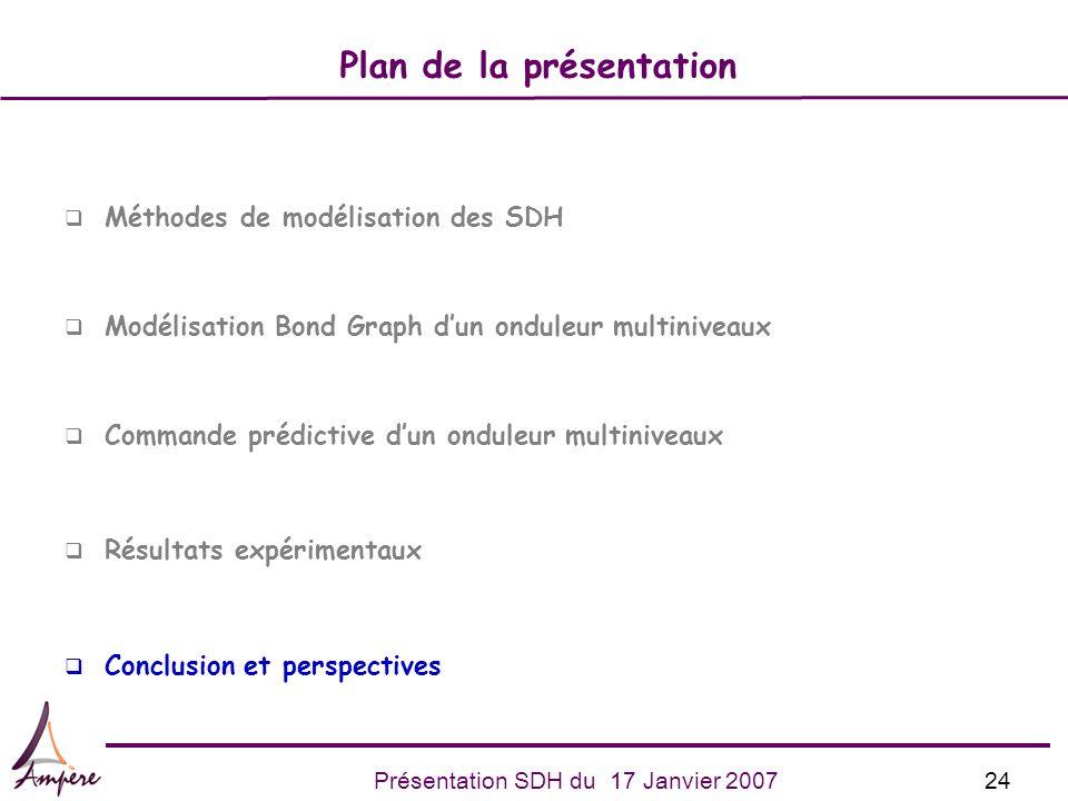 24Présentation SDH du 17 Janvier 2007 q Méthodes de modélisation des SDH q Modélisation Bond Graph dun onduleur multiniveaux q Commande prédictive dun