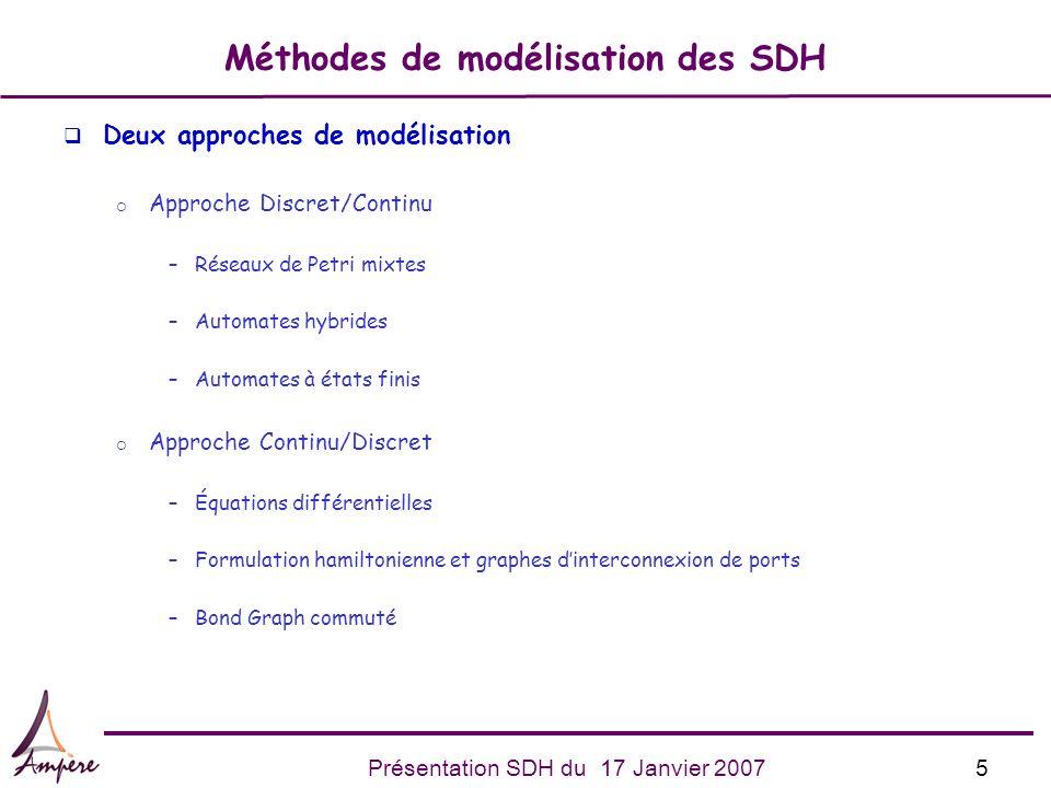 5Présentation SDH du 17 Janvier 2007 Méthodes de modélisation des SDH q Deux approches de modélisation Approche Discret/Continu –Réseaux de Petri mixt