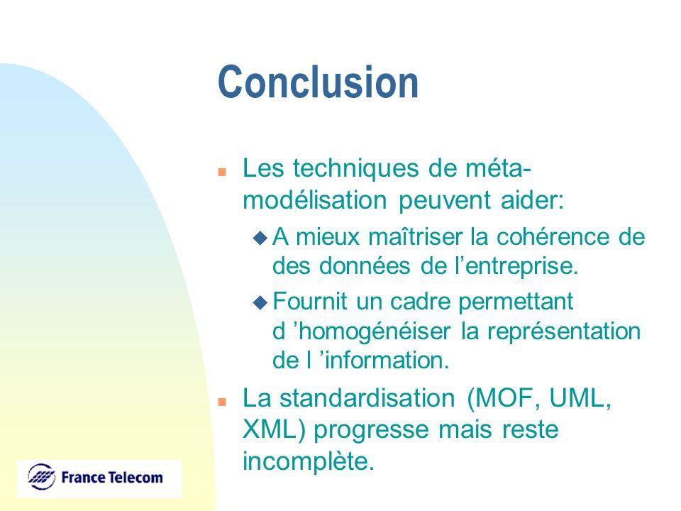 Conclusion n Les techniques de méta- modélisation peuvent aider: u A mieux maîtriser la cohérence de des données de lentreprise. u Fournit un cadre pe