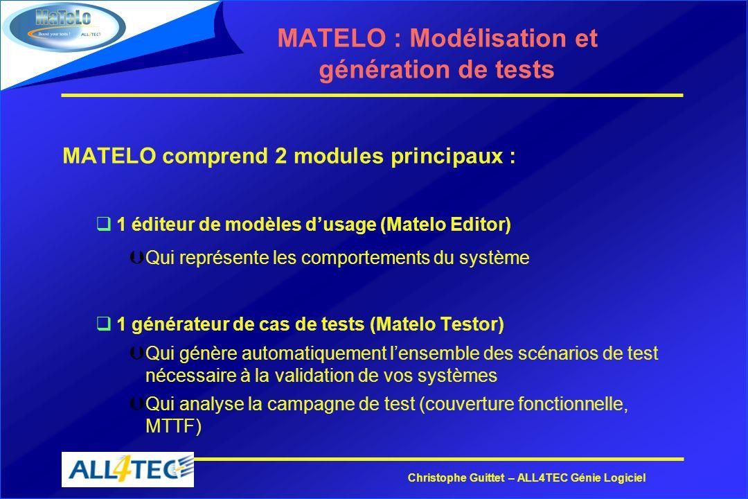 Christophe Guittet – ALL4TEC Génie Logiciel MATELO : Modélisation et génération de tests MATELO comprend 2 modules principaux : q1 éditeur de modèles