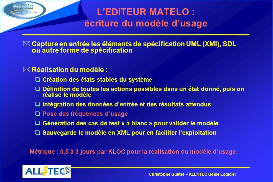 Christophe Guittet – ALL4TEC Génie Logiciel LEDITEUR MATELO : écriture du modèle dusage *Capture en entrée les éléments de spécification UML (XMI), SD