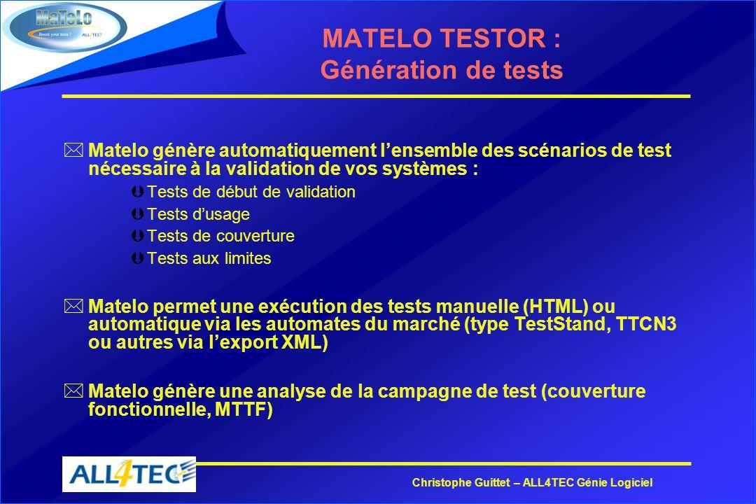 Christophe Guittet – ALL4TEC Génie Logiciel MATELO TESTOR : Génération de tests *Matelo génère automatiquement lensemble des scénarios de test nécessa