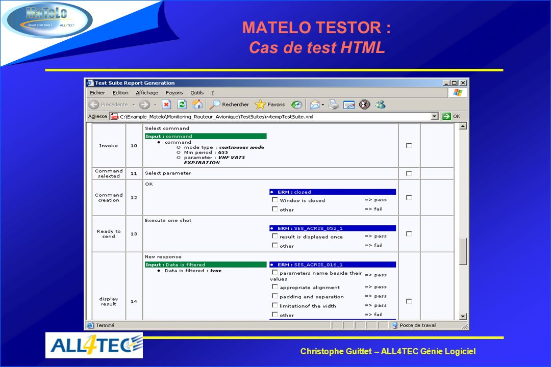 Christophe Guittet – ALL4TEC Génie Logiciel MATELO TESTOR : Cas de test HTML