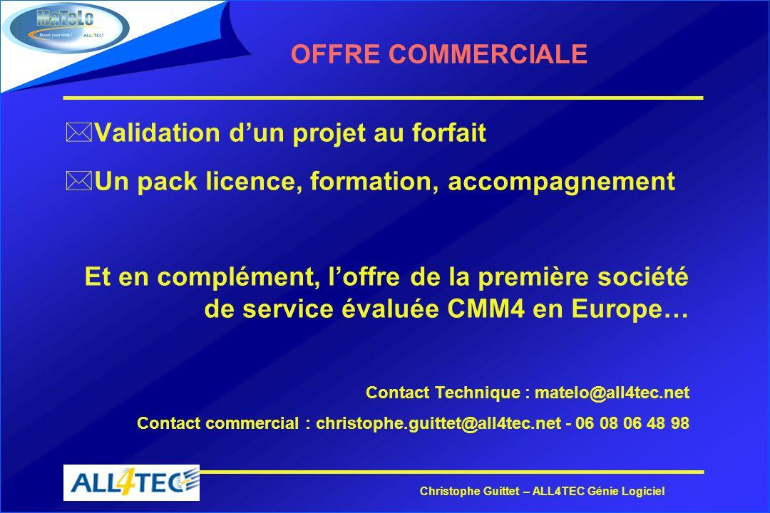 Christophe Guittet – ALL4TEC Génie Logiciel OFFRE COMMERCIALE *Validation dun projet au forfait *Un pack licence, formation, accompagnement Et en comp