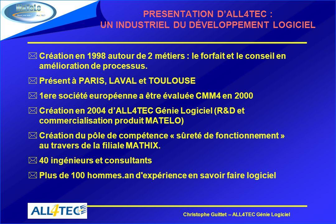Christophe Guittet – ALL4TEC Génie Logiciel PRESENTATION DALL4TEC : UN INDUSTRIEL DU DÉVELOPPEMENT LOGICIEL *Création en 1998 autour de 2 métiers : le