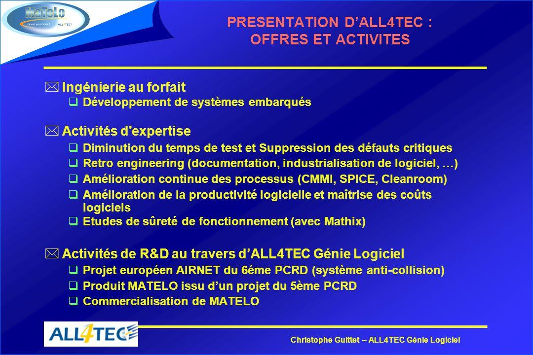 Christophe Guittet – ALL4TEC Génie Logiciel PRESENTATION DALL4TEC : OFFRES ET ACTIVITES *Ingénierie au forfait qDéveloppement de systèmes embarqués *A