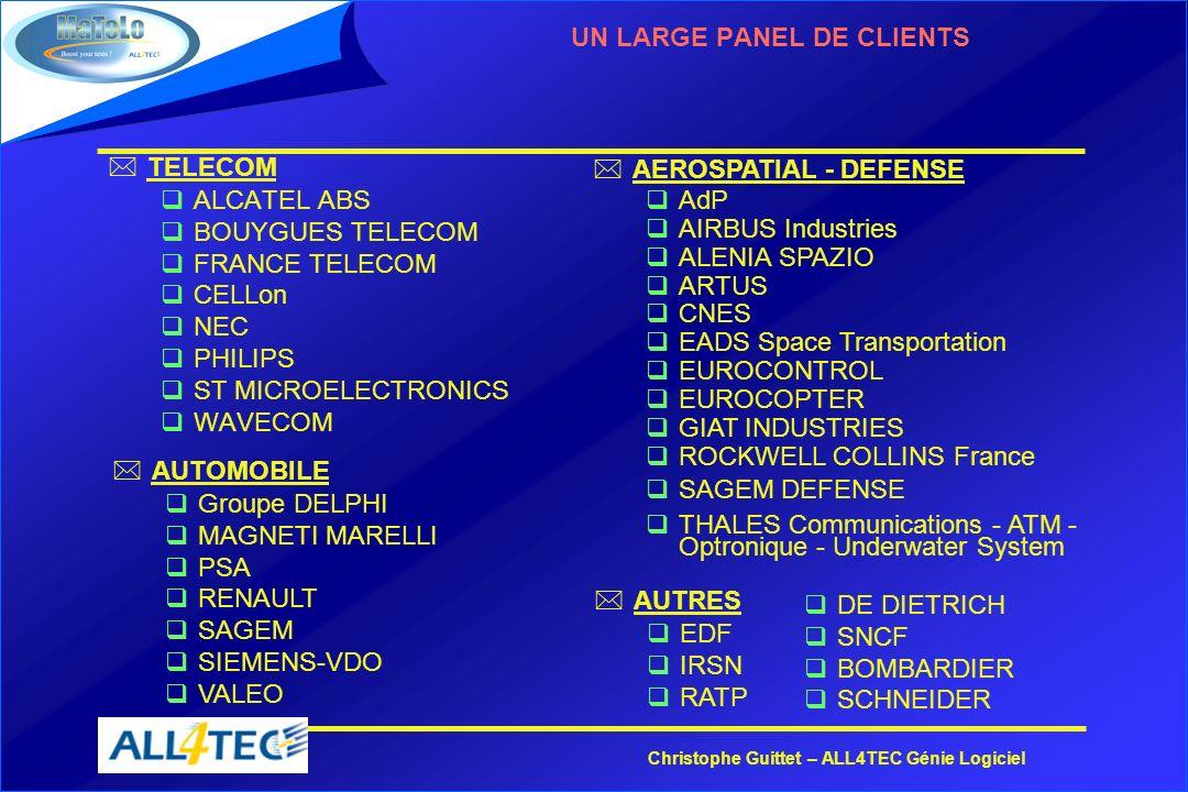 Christophe Guittet – ALL4TEC Génie Logiciel UN LARGE PANEL DE CLIENTS *TELECOM qALCATEL ABS qBOUYGUES TELECOM qFRANCE TELECOM qCELLon qNEC qPHILIPS qS