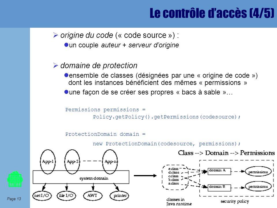 Page 13 Le contrôle daccès (4/5) origine du code (« code source ») : un couple auteur + serveur dorigine domaine de protection ensemble de classes (dé
