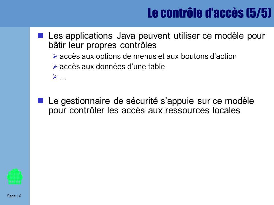 Page 14 Le contrôle daccès (5/5) Les applications Java peuvent utiliser ce modèle pour bâtir leur propres contrôles accès aux options de menus et aux