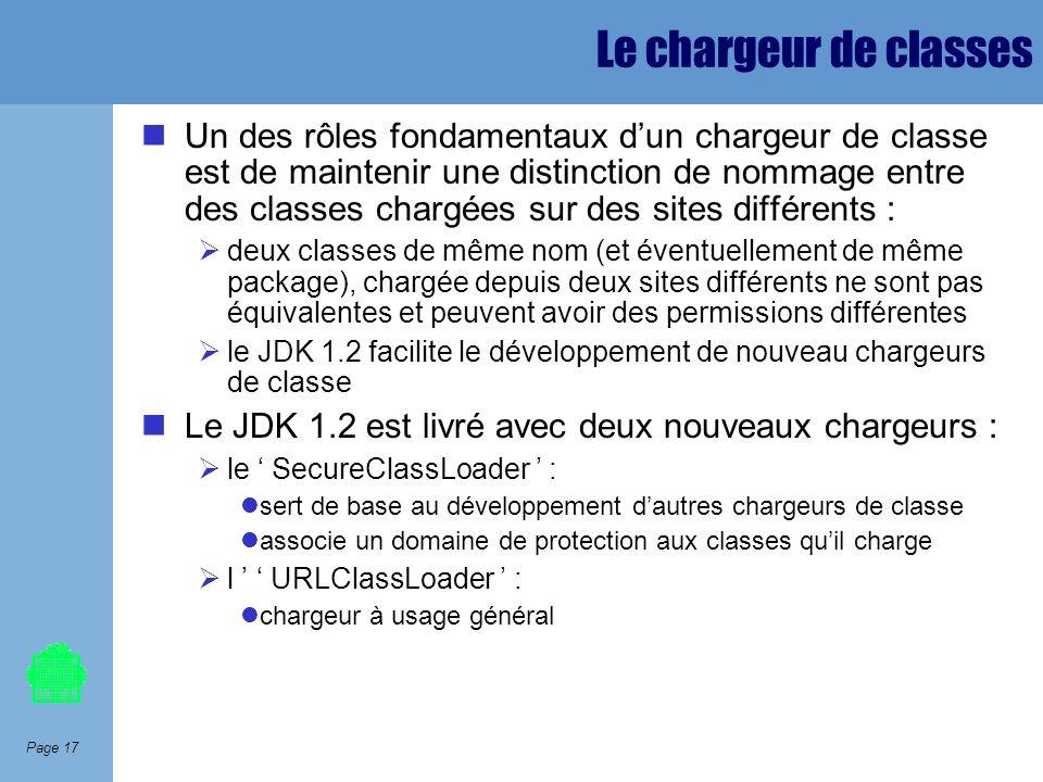 Page 17 Le chargeur de classes Un des rôles fondamentaux dun chargeur de classe est de maintenir une distinction de nommage entre des classes chargées