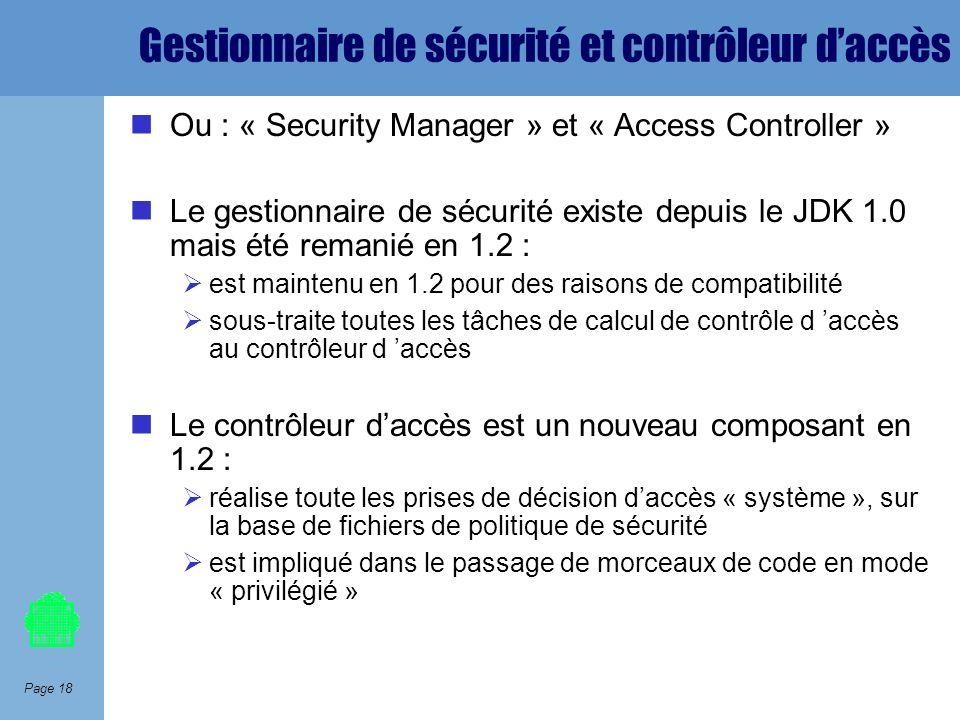 Page 18 Gestionnaire de sécurité et contrôleur daccès Ou : « Security Manager » et « Access Controller » Le gestionnaire de sécurité existe depuis le