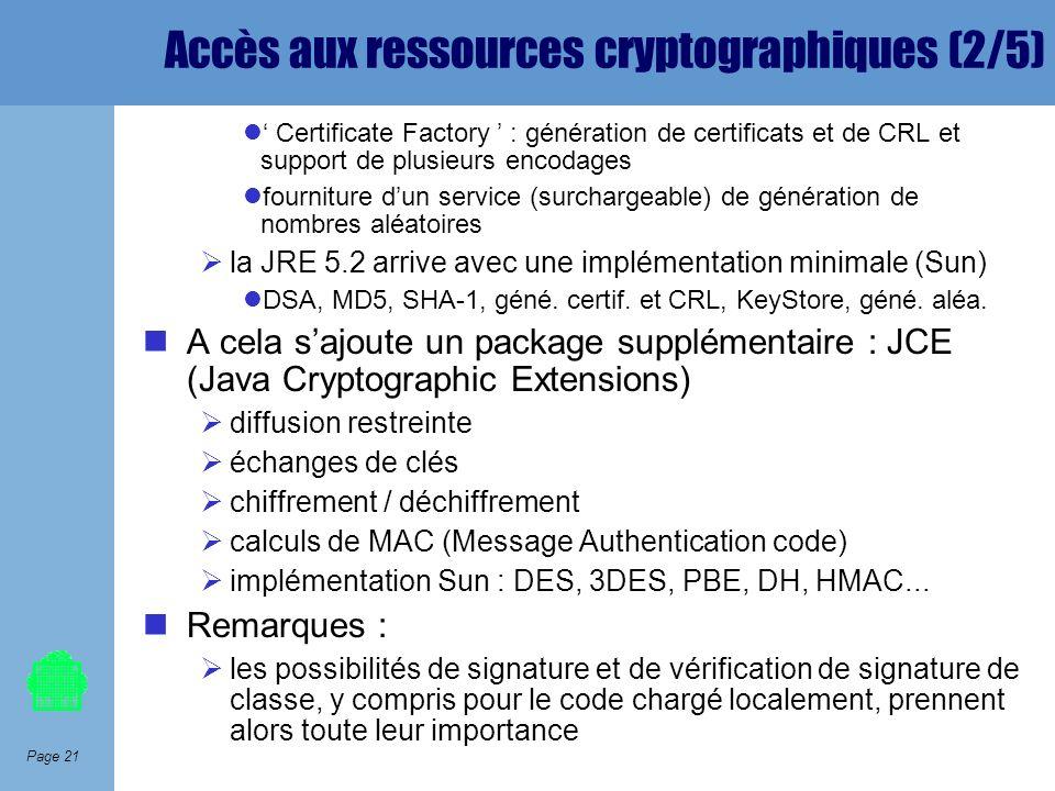 Page 21 Accès aux ressources cryptographiques (2/5) Certificate Factory : génération de certificats et de CRL et support de plusieurs encodages fourni