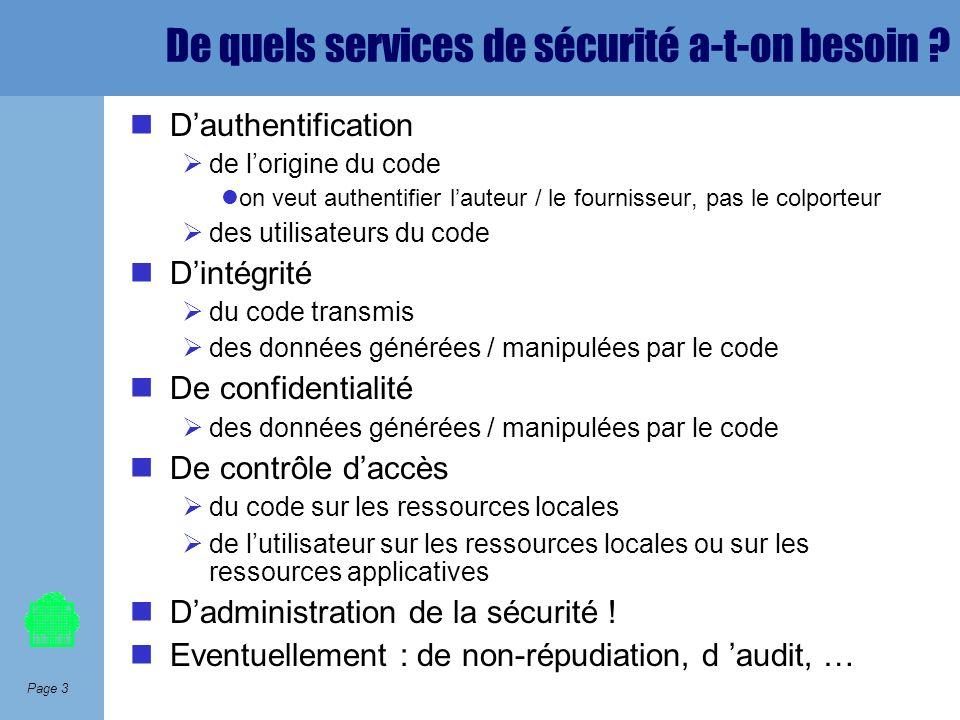 Page 3 De quels services de sécurité a-t-on besoin ? Dauthentification de lorigine du code on veut authentifier lauteur / le fournisseur, pas le colpo
