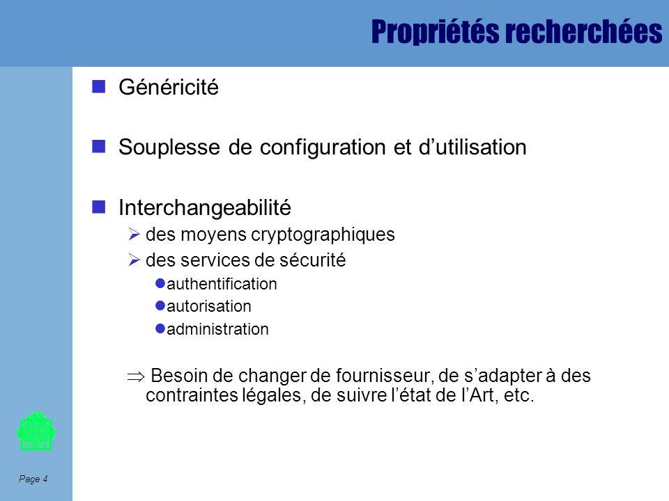 Page 4 Propriétés recherchées Généricité Souplesse de configuration et dutilisation Interchangeabilité des moyens cryptographiques des services de séc