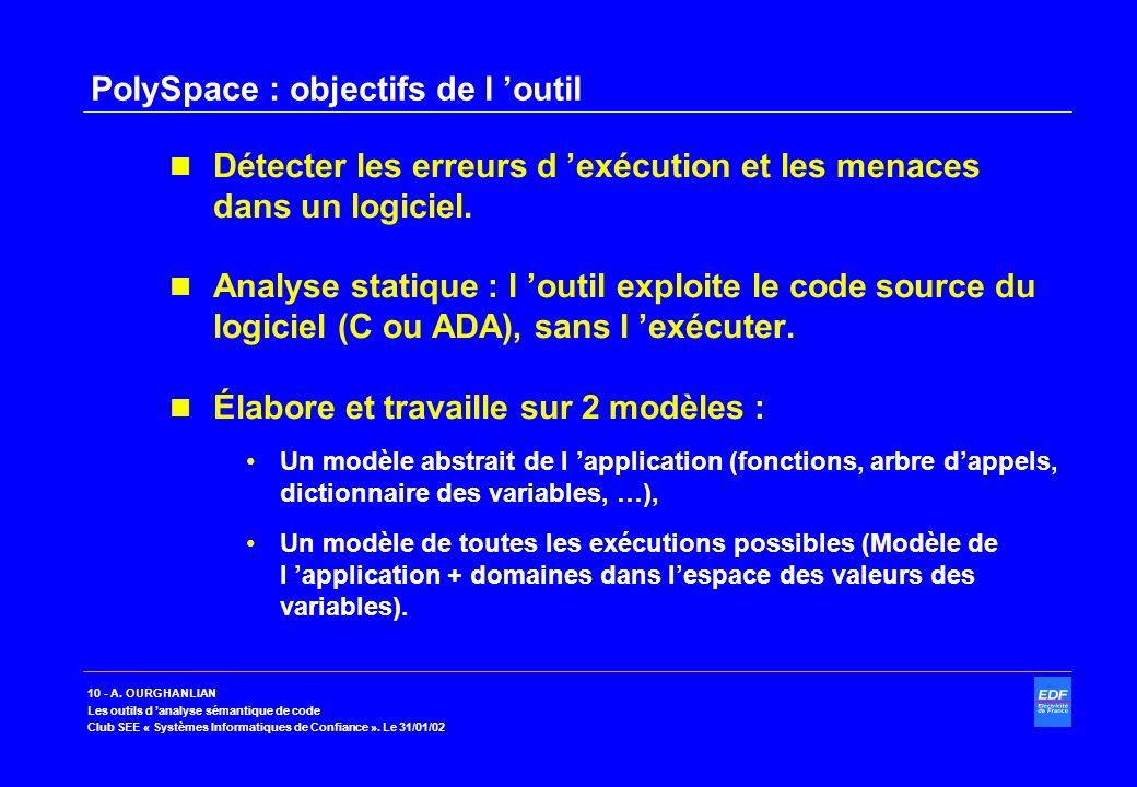 10 - A. OURGHANLIAN Les outils d analyse sémantique de code Club SEE « Systèmes Informatiques de Confiance ». Le 31/01/02 PolySpace : objectifs de l o