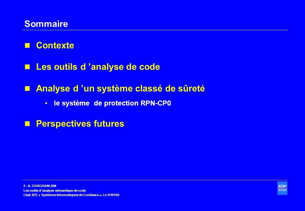 2 - A. OURGHANLIAN Les outils d analyse sémantique de code Club SEE « Systèmes Informatiques de Confiance ». Le 31/01/02 Sommaire Contexte Les outils